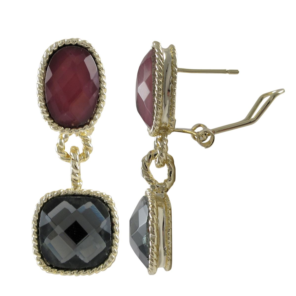 Grey Colour Earrings: Gold Plated Brass Omega Clip Earrings In Dark Red & Grey Color