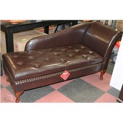 New brown leatherette nailhead storage chaise kastner for Ava nailhead chaise