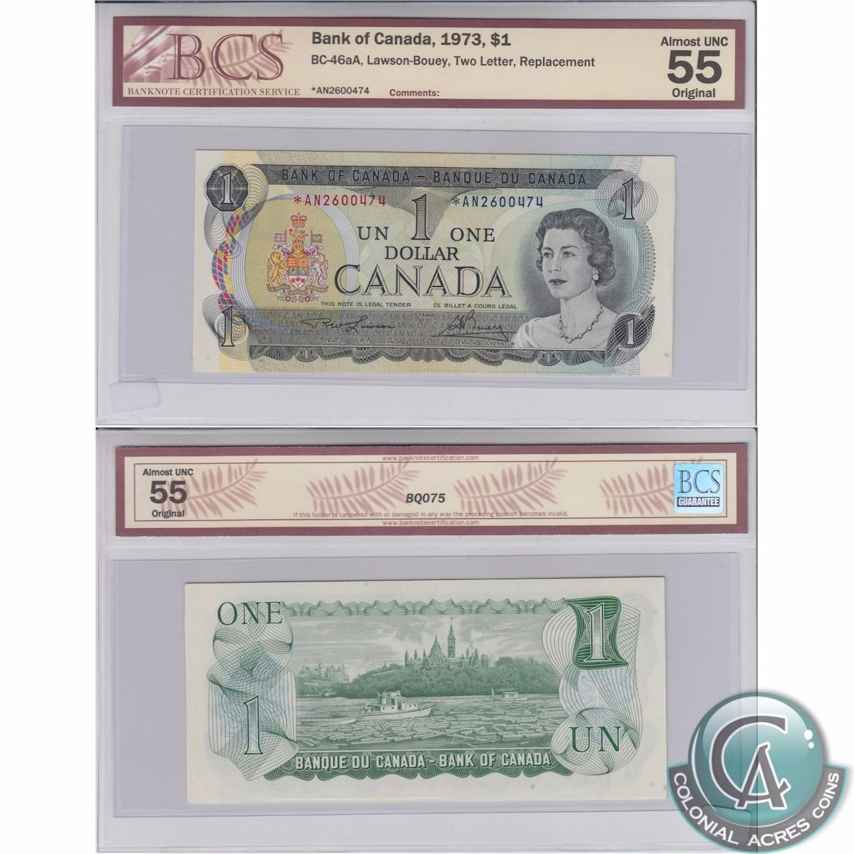 1973 1 Bc 46aa Bank Of Canada Lawson Bouey Two Letter Replacement