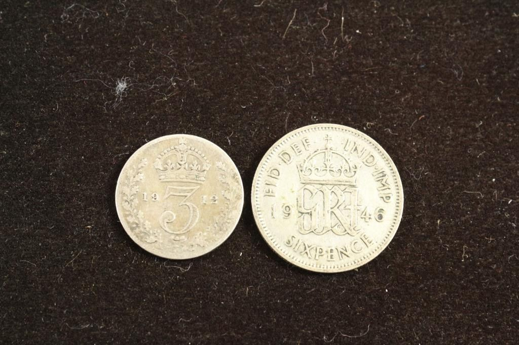 Great Britain Silver 1912 3 Pence Amp 1946 6 Pence