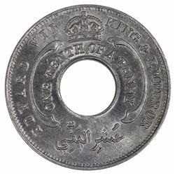 British West Africa 1907 1/10 Penny, Lustrous Uncirculated with minimal spotting