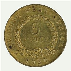 British West Africa 1920 KN 'Uniface Reverse Trial ' Sixpence, Choice Uncirculated with minor spotti