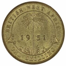 British West Africa 1951 KN Shilling, Lightly toned - Choice Uncirculated