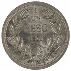 Chile 1933 Peso, Lustrous - Choice Uncirculated
