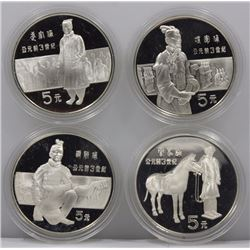 China 1984 'Ancient Warriors' Proof 5 Yuan Set of 4 , FDC as issued in original lacquer box