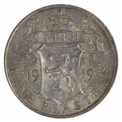 Cyprus 1919 Nine Piastres, Lightly toned - Uncirculated