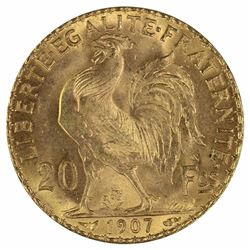 France 1907 'Rooster' 20 Franc, Choice Uncirculated