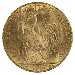 France 1913 'Rooster' 20 Franc, Choice Uncirculated