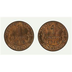 France 1919 One Centime (2 coins), Lustrous - Gem