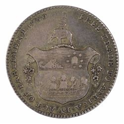 Gold Coast 1796 1/4 Ackey - Error spelling 'Parli(a)ment', Extremely Fine but  weakly struck on the
