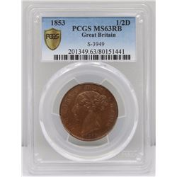 Great Britain Victoria 1853 Half Penny, PCGS MS63RB