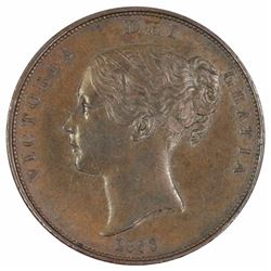 Great Britain Victoria 1853 Penny 'OT DEF_:' , Uncirculated (Scratch on Reverse)