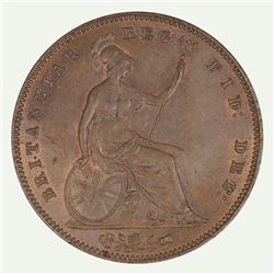 Great Britain Victoria 1854 Penny, Plain Trident, Choice Uncirculated with plenty of Red