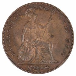 Great Britain Victoria 1857 Penny 'PT DEF:', Brown Uncirculated