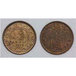 India 1928 & 1933 1/12 Anna, Choice Uncirculated