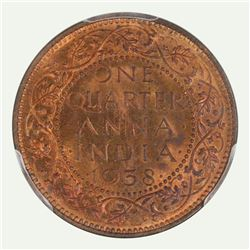 India 1938 C 1/4 Anna, Lustrous - Uncirculated