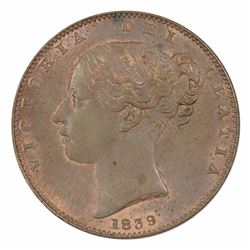 Isle of Man Victoria 1839 Farthing, Uncirculated with plenty of colour