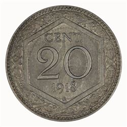 Italy 1918 R 20 Cent, Lightly toned - Uncirculated
