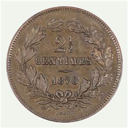 Luxembourg 1870 2-1/2 Centimes, about Uncirculated / Uncirculated