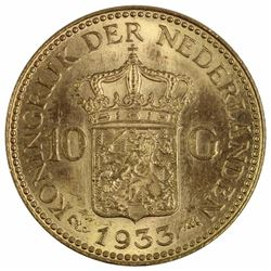 Netherlands 1933 10 Gulden, Uncirculated