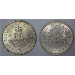 New Zealand 1949 'Proposed Royal Visit' & 1953 'Royal Visit' Crowns, Both Uncirculated (2 coins)