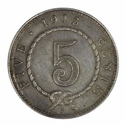 Sarawak 1913 H 5 Cent, Toned - about Uncirculated