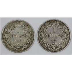 South Africa 1892 & 1894 Shillings, Fine & Very Fine  (2 coins)