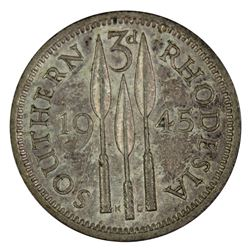 Southern Rhodesia 1945 Threepence, about Uncirculated