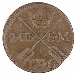 Sweden 1746 2 Ore, good Very Fine