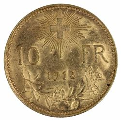 Switzerland 1915 B 10 Franc, about Uncirculated