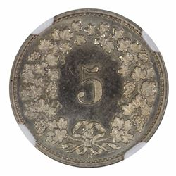 Switzerland 1928B 'Specimen' 5 Rappen - NGC SP65