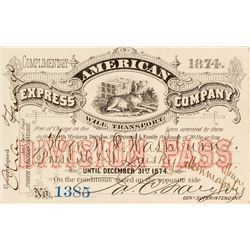 american express company pass 1874 charles fargo signature