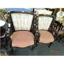 2 Mahogany Padded Armchairs - 2 Times the Money