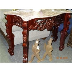 Carved Wood Marble Top Hall Table