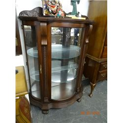 Mahogany Bow Front China Hutch