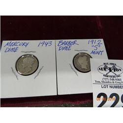 1912 S Barber Dime and 1943 Mercury Dime