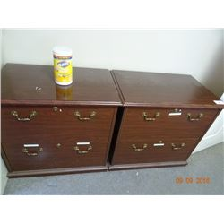 2 Mahogany 2 Drawer Lateral File Cabinets - 2 Times the Money