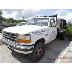 1996 Ford FSD DSL Std. Cab 12' D.P. Flatbed Truck