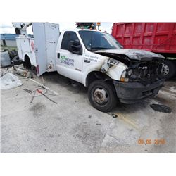 2003 Ford F450 XL S.D. Dsl Ut. Fire Damaged Engine and Cab, 12' Uitlity Bed (Mileage Exempt) - Vin #