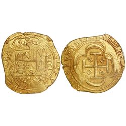 Mexico City, Mexico, cob 8 escudos, 1714J,  GRAT  variety (rare), encapsulated NGC MS 63, from the 1