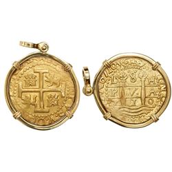 Lima, Peru, cob 8 escudos, 1710H, mounted in 18K pendant-bezel with swivel bail, from the 1715 Fleet