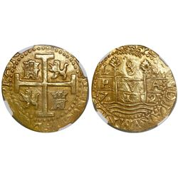 Lima, Peru, cob 8 escudos, 1712M, encapsulated NGC MS 61, from the 1715 Fleet.