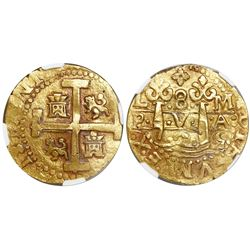 Lima, Peru, cob 8 escudos, 1725M, (Louis I), encapsulated NGC MS 61, finest known in NGC census, fro