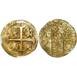 Lima, Peru, cob 8 escudos, 1750R, encapsulated NGC MS 62, tied for finest known in NGC census, from