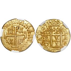 Lima, Peru, cob 2 escudos, 1710H, encapsulated NGC MS 64, tied for finest known in NGC census, from