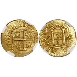 Lima, Peru, cob 2 escudos, 1710H, encapsulated NGC MS 62, from the 1715 Fleet (as stated inside the