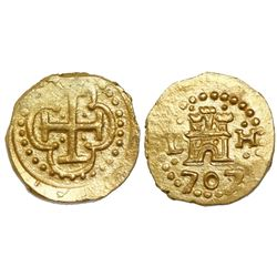 Lima, Peru, cob 1 escudo, 1707/5H, from the 1715 Fleet, Tauler Plate Coin.