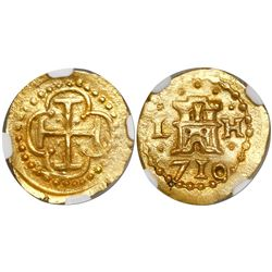 Lima, Peru, cob 1 escudo, 1710H, encapsulated NGC MS 65, finest known in NGC census, from the 1715 F