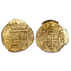 Cartagena, Colombia, cob 2 escudos, 1628, assayer E below mintmark RN to right, encapsulated NGC AU