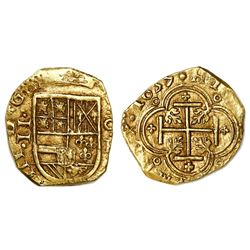 Cartagena, Colombia, cob 2 escudos, 1635, assayer E below mintmark C to right.